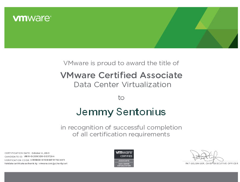 Vmware Certified Associate Data Center Virtualization Sentonius