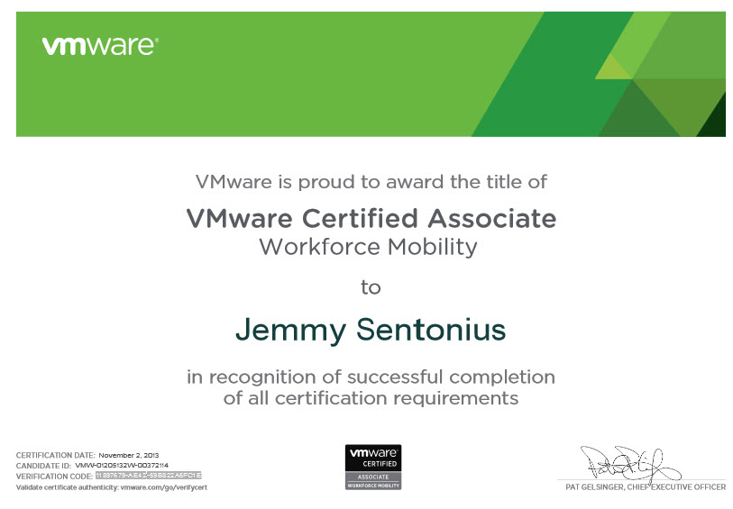Vmware Certified Associate Workforce Mobility Sentonius